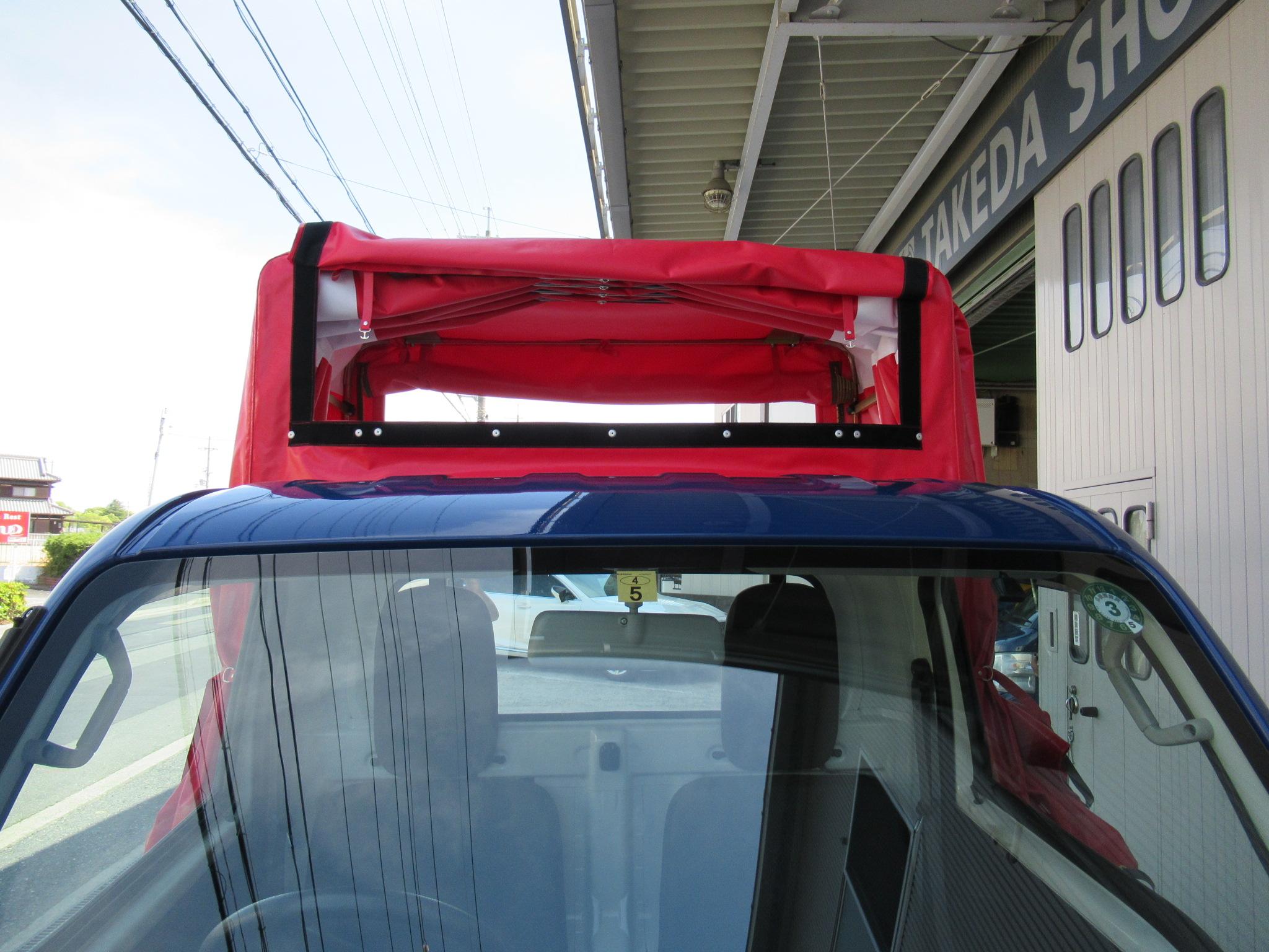 パワーゲート車アコーデオン幌架装(幌色 赤)